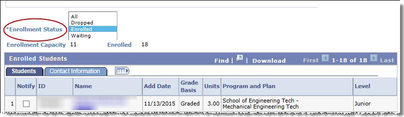 Class Roster Enrollment Status