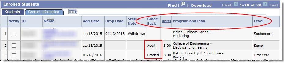 class roster grade basis